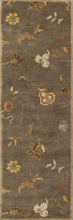 Jaipur Rugs Transitional Floral Pattern Taupe/Red Wool Area Rug PM01 (Runner)