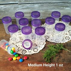 """100 Pill Jars 2+"""" tall T. Purple Cap 1 ounce Favor Size Container #3812 USA New #Decojars"""
