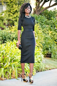 Black Diamond Print Midi Dress