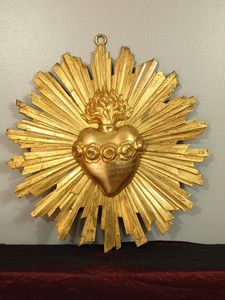 Sacred Heart Mary Radiant Gilded Bronze 19'C French Relic Reliquary Large