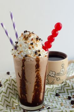 Chocolate Chocolate Chip Coffee Shake inspired by Sookie of Gilmore Girls! From ChefSarahElizabeth.com