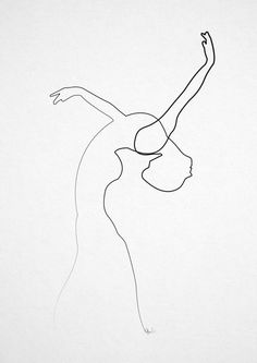 One line Dancer Art Print by Quibe | Society6