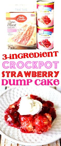 This easy crock pot cobbler is the perfect dessert for any weeknight or party. Just toss 3 Ingredients in your slow cooker, and youre done! Go grab the recipe and give it a try this week! Crockpot Cake Recipes, Crock Pot Desserts, Dump Cake Recipes, Desserts For A Crowd, Fudge Recipes, Easy Desserts, Snack Recipes, Moist Cakes, Cobbler