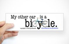 Share your love of bikes with everyone on the road, even when you're behind the wheel with these great cycling bumper stickers.