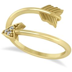 Allurez Cupid's Arrow Ring Diamond Accented 14k Yellow Gold (0.05ct) (€490) ❤ liked on Polyvore featuring jewelry, rings, accessories, anillos, bracelets, yellow, 14k yellow gold ring, engraved gold bracelet, 14k yellow gold bracelet and 14k bracelet