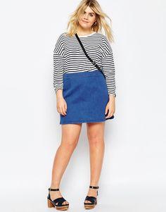 ASOS CURVE Denim A-Line Mini Skirt