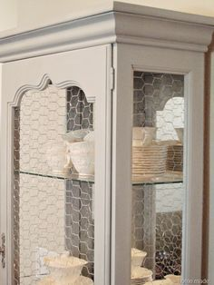 China cabinet, chicken wire??
