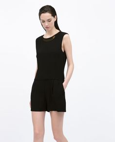SHORT JUMPSUIT WITH METAL APPLIQUE-Jumpsuits-WOMAN | ZARA United States