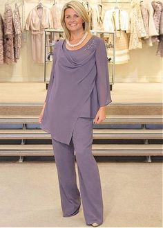 Buy discount Alluring Pant Suits Chiffon Scoop Neckline Full-length Mother Of The Bride Dresses at Magbridal.com