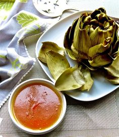 Steamed Artichokes with Apple-Butter Reduction
