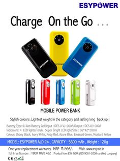 Buy Mobile Power Bank - Charge on the GO.....!  -  Recharging your phone's battery has never been too simple now with a portable Mobile Power Bank. Stylish colours, lightest weight and long lasting backup! Visit http://esy.co.in/content/83/esypower-ald24