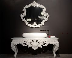 bisazza wanders collection vanity, great composition of modern & baroque, replace fancy mirror with something simpler