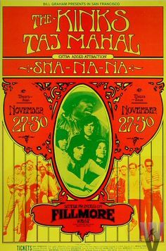 Classic Poster - Kinks at Fillmore West 11/27-30/69 by Randy Tuten
