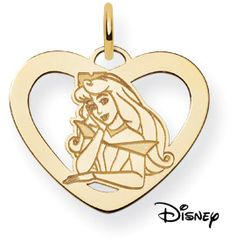 Sleeping Beauty Heart Pendant, 14K Solid Yellow Gold