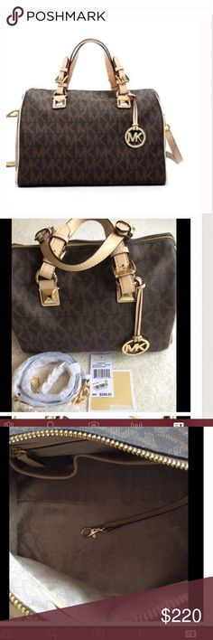 """💕MICHAEL KORS SATCHEL💕 Beautiful Michael Kors satchel.  Signature brown logo with leather trim.  Gold hardware.  Buckled top handles.  Detachable adustable shoulder strap.Zip top closure.  Two exterior pockets.  Two side pockets.  Flat bottom with protective feet.  Interior lining features zip pocket and cellphone and multifunction pockets.  Approximately 11.5 wide, 8"""" high, 7"""" across bottom.  Excellent condition- like new!! Michael Kors Bags Satchels"""