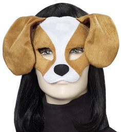Our Puppy Dog Plush Mask is made of a fuzzy plush material and features a half mask design, floppy ears, black nose and an elastic strap to secure it to the face. The open chin makes eating, drinking and communication simple. Our Dog Mask is an ideal animal accessory for any dog, masquerade or Mardi Gras costume.