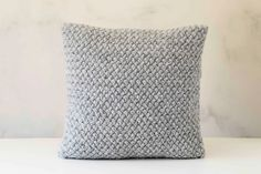 Knit pillow grey knitted chunky pillow by pillowlink on Etsy