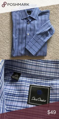 David Donahue [men's] Blue plaid button down Shirt Dry cleaned and ready to wear. Size 17 32/33. Blue button down with Plaid. 100% cotton. David Donahue Shirts Dress Shirts
