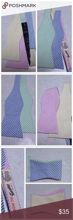 Adjustable, 4 way boater BOWTIE TUESDAY Seersucker pin stripes in blue, mint, pink and yellow give you plenty of options with this 4 way by BOWTIE TUESDAY Bowtie Tuesday Accessories Ties