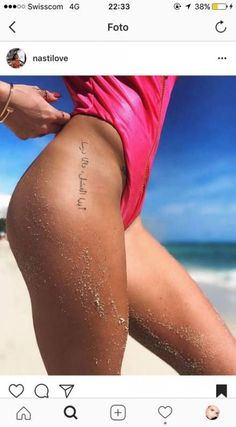 Tattoo fonts · the size of the writing. side hip tattoos, small tattoos on hip Hip Tattoo Quotes, Small Quote Tattoos, Small Quotes, Sister Tattoos, Girl Tattoos, Tatoos, Belly Tattoos, Stomach Tattoos, Hip Tattoo Small