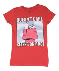 Love this Peanuts Snoopy 'Doesn't Care' Tee - Girls by Peanuts by Charles Schulz on #zulily! #zulilyfinds