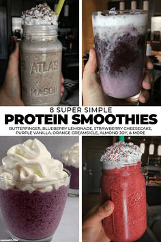 Need a quick and delicious way to get more protein in? Nearly all of these protein smoothie recipes have fewer than 5 ingredients and every recipe has the macros and WW Smart Points calculated for you! Protein Smoothies, Protein Milkshake, Protein Smoothie Recipes, Milkshake Recipes, Easy Smoothies, Fruit Smoothies, Protein Shakes, Smart Points, Macro Meals