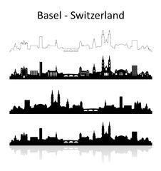 Vektor: Skyline Basel Photo Illustration, Illustrations, Black And White Illustration, Basel, Videos, Switzerland, Places To Travel, Photo Art, Skyline