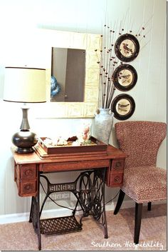 I love the sewing machine used as a side table ( @Melanie Looser)