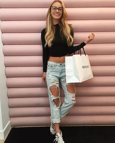 "Bryana Holly - ""stopped by and wanted to leave with everything #revolve "" #rippeddenim #shreddedjeans #rippedjeans #glasses"