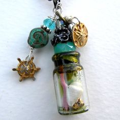Fairy Tale Necklace -Ariel  Mermaid's Keepsakes- Tiny Fork in Tiny  Bottle Necklace - Once Upon A Time