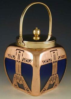 Satinized loetz biscuit barrel with Secessioist copper overlay, lid & handle	Austria c.1902