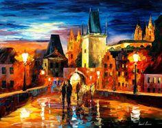 Night in Prague  PALETTE KNIFE1 Oil Painting door AfremovArtStudio, $239.00