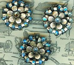 Beautiful Victorian Metal and Blue Rhinestone Buttons.