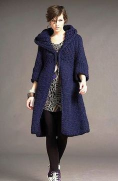 Hand Knit Coat With Hood Long Jacket from Chunky Yarn Custom Orders Ac Crochet Cardigan, Long Cardigan, Gilet Long, Gucci Dress, Knitted Coat, Chunky Yarn, Thick Yarn, Coat Patterns, Long Jackets