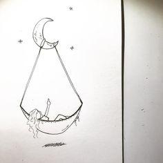 """Dopo aver pensato molto, sono arrivato ad una confusione.""""  #sketch #art #moon #sky"""