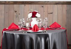 Charcoal And Red Wedding Tablescape