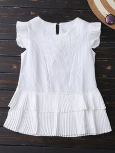 Layered Pleated Panel Blouse - White S