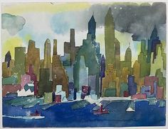 Romare Bearden Untitled (Buildings, Small Boats), c. 1979-80 Watercolor and graphite on paper, 12 1/4 x 16 inches