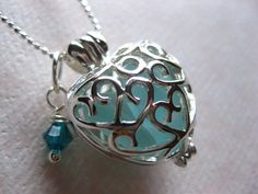 Seaglass Heart Locket and SS chain
