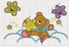 TIPS and TEMPLATES: Graphics of cute teddy bear pricker frames templates – Embroidery Desing Ideas Baby Cross Stitch Patterns, Cross Stitch Baby, Cross Stitch Animals, Cross Stitch Charts, Cross Stitch Designs, Cross Stitching, Cross Stitch Embroidery, Embroidery Patterns, Baby Motiv