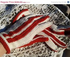 ON SALE 50s Gloves Handmade - Unused - French - Crocheted - Cream & Vibrant Red - Two colors - French Mid- Century Vintage -  Cotton - Size