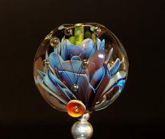 flower tab bead handmade glass bead SRA OOAK by CorneliaLentze, $28.00