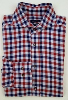SUITSUPPLY Gingham SHIRT 37 14 1/2 Mens MULTICOLOR Checked RED Blue SIZE Cotton* #Suitsupply