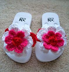 crocheted flip flops