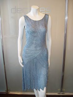 1920s blue evening dress