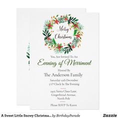 A Sweet Little Snowy Christmas Wreath Party Invitation Christmas Stockings, Christmas Wreaths, Christmas Decorations, Xmas, Christmas Party Invitations, Rudolph The Red, Red Nosed Reindeer, You Are Invited, Deck The Halls