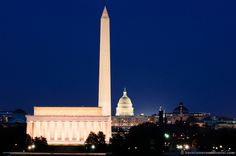 View of famous monuments along Washington DCs National Mall.