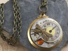 Steampunk dragonfly watch pendant