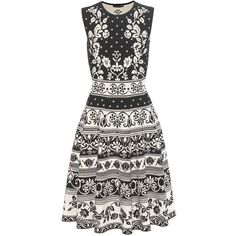 Alexander McQueen Jacquard knit dress (107,320 INR) ❤ liked on Polyvore featuring dresses, white dress, stretch dresses, white fit and flare dress, floral print dress and fit flare dress