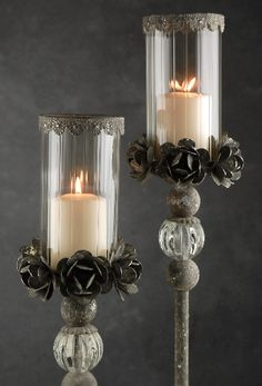 Pedestal Candle Holder With Metal Flowers